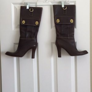 Coach walnut leather boots with gold buckles